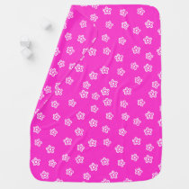 Hot pink cute flowers blanket for baby girl
