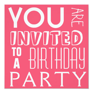 Hot PINK cute fun teen typography Birthday Party Card