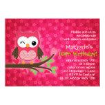 "Hot Pink Cute Owl Girly Birthday Party Invitation 5"" X 7"" Invitation Card"