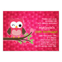 Hot Pink Cute Owl Girly Birthday Party Invitation