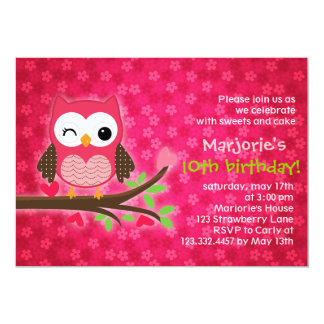 "Hot Pink Cute Owl Girly Birthday Party Invitation 5"" X 7"" Invitation Card"