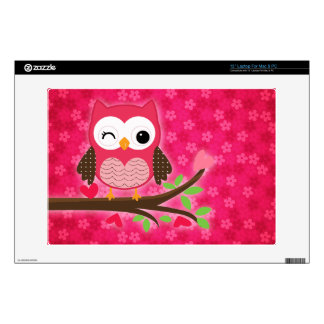 "Hot Pink Cute Owl Girly Decal For 13"" Laptop"