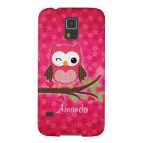 Hot Pink Cute Owl Girly Galaxy S5 Case