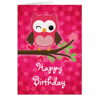 Hot Pink Cute Owl Girly Happy Birthday Card