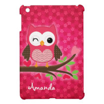 Hot Pink Cute Owl Girly iPad Mini Cover