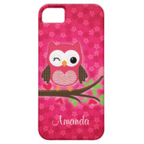 Hot Pink Cute Owl Girly iPhone SE/5/5s Case