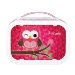 Hot Pink Cute Owl Girly Lunchbox