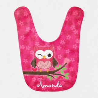 Hot Pink Cute Owl Girly Personalized Bib