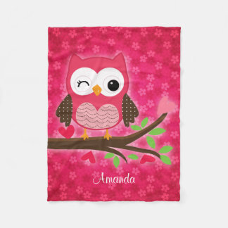 Hot Pink Cute Owl Girly Personalized Fleece Blanket