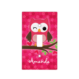 Hot Pink Cute Owl Girly Personalized Light Switch Cover
