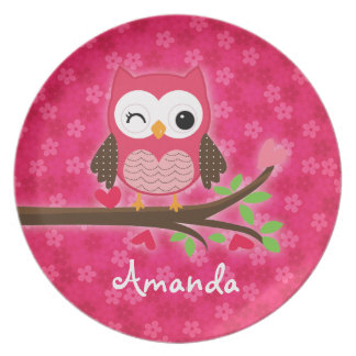 Hot Pink Cute Owl Girly Personalized Melamine Plate