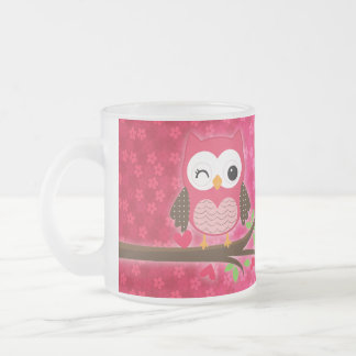 Hot Pink Cute Owl Girly Personalized 10 Oz Frosted Glass Coffee Mug