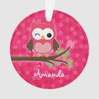 Hot Pink Cute Owl Girly Personalized Ornament