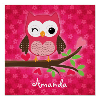 Hot Pink Cute Owl Girly Personalized Poster