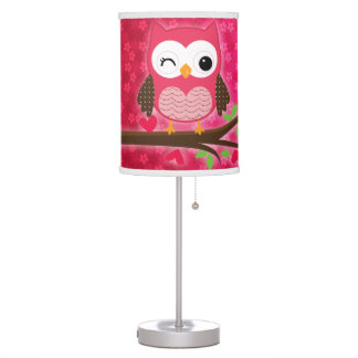 Hot Pink Cute Owl Girly Personalized Table Lamp