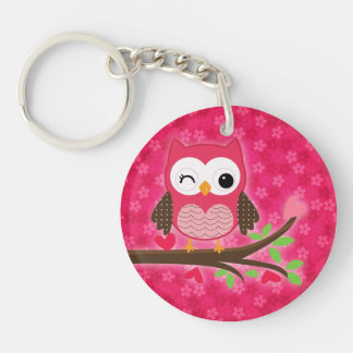 Hot Pink Cute Owl Girly Personalized with Photo Acrylic Keychain