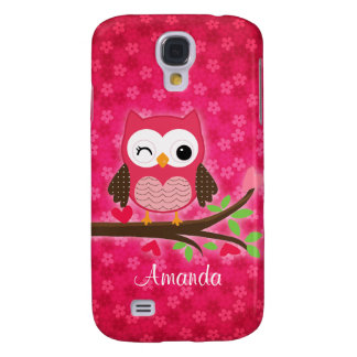 Hot Pink Cute Owl Girly Samsung Galaxy S4 Cover