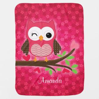 Hot Pink Cute Owl Girly Stroller Blanket