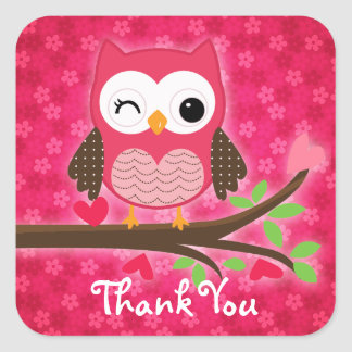 Hot Pink Cute Owl Girly Thank You Square Sticker