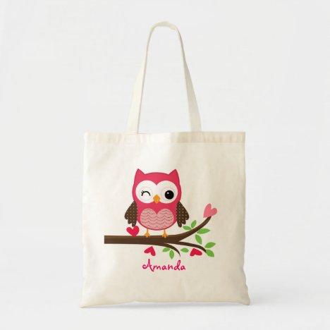 Hot Pink Cute Owl Girly Tote Bag