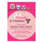Hot Pink Cute Owl Polka Dots Birthday Invitation