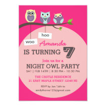 Hot Pink Cute Owl Polka Dots Birthday Invitation