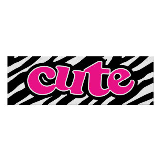 Hot Pink; Cute Zebra Stripes Poster