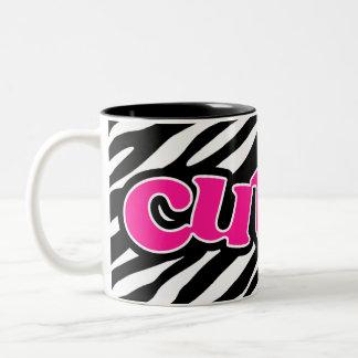 Hot Pink; Cute Zebra Stripes Two-Tone Coffee Mug