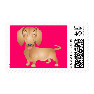 Hot Pink Dachshund Puppy Dog Postage Stamp