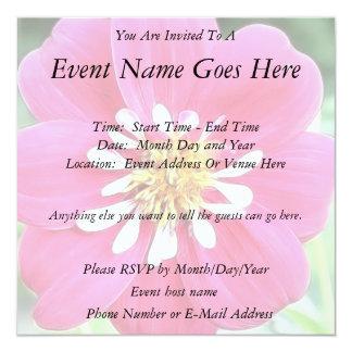 Hot Pink Dahlia Flower 5.25x5.25 Square Paper Invitation Card