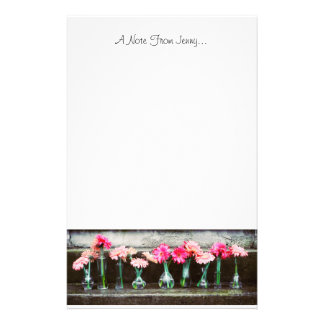 Hot Pink Daisies in Vases Stationery