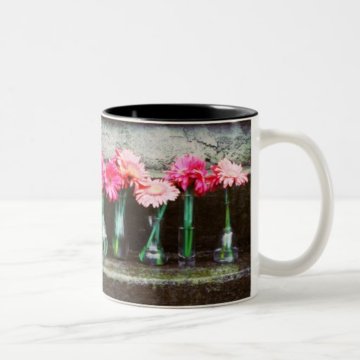 Hot Pink Daisies in Vases Two-Tone Coffee Mug