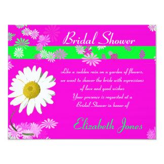 "Hot Pink Daisy Bridal Shower Invite 4.25"" X 5.5"" Invitation Card"