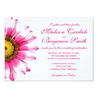 "Hot Pink Daisy Flower Wedding Invitations 4.5"" X 6.25"" Invitation Card"