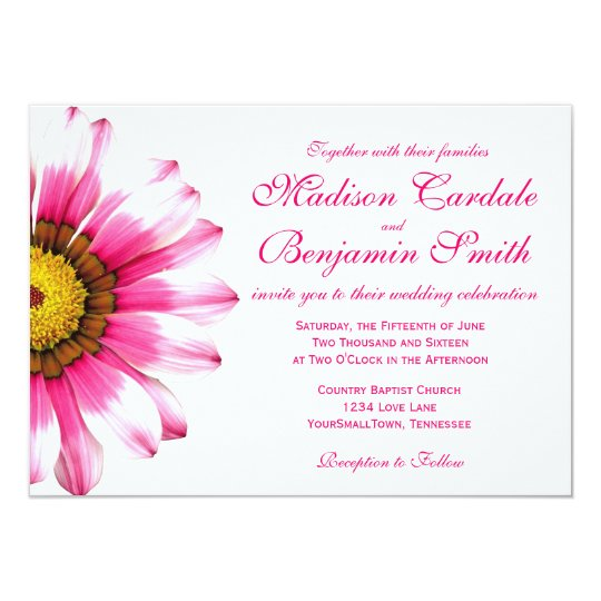 Hot Pink Gerbera Daisy White Wedding Invitation 5 X 7: Hot Pink Daisy Flower Wedding Invitations