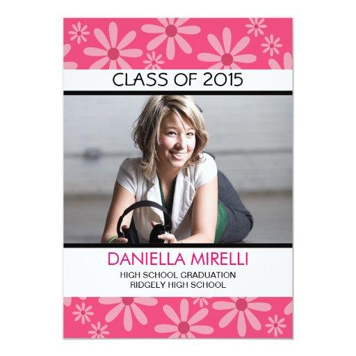 Hot Pink Daisy Flowers Photo Graduation Invitation