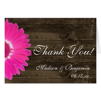 Hot Pink Daisy Rustic Wedding Thank You Cards