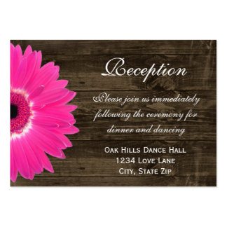 Hot Pink Daisy Wedding Reception Direction Card Large Business Cards (Pack Of 100)
