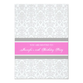 Hot Pink Damask 35th Birthday Party Invitations
