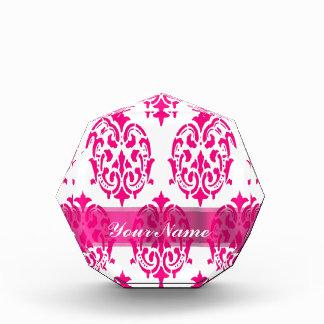 Hot pink damask awards