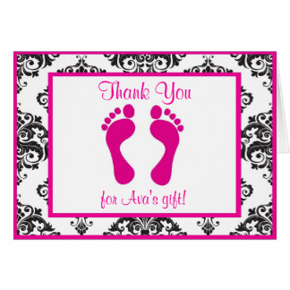 Hot Pink Damask Baby Shower Thank You Cards