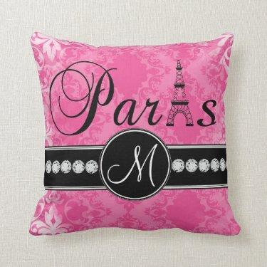 Hot Pink Damask Black Parisian Monogram Pillow