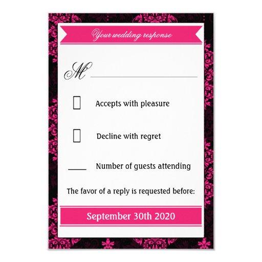 Hot Pink Damask & Black Wedding RSVP Cards