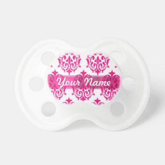 Hot pink damask BooginHead pacifier