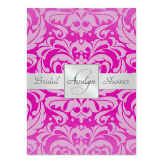 Hot Pink Damask Bridal Shower Monogram Invitation