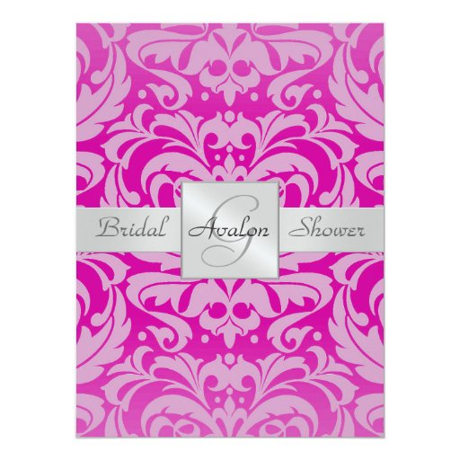 Hot Pink Damask Bridal Shower Monogram Invitation