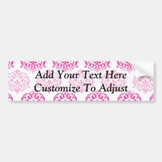 Hot pink damask bumper sticker