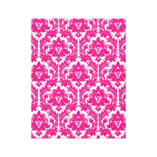 Hot Pink Damask Stretched Canvas Print