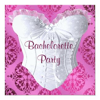 Hot Pink Damask Corset Bachelorette Party 5.25x5.25 Square Paper Invitation Card