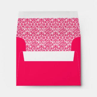 Hot Pink Damask Custom Envelope with Address Envelopes